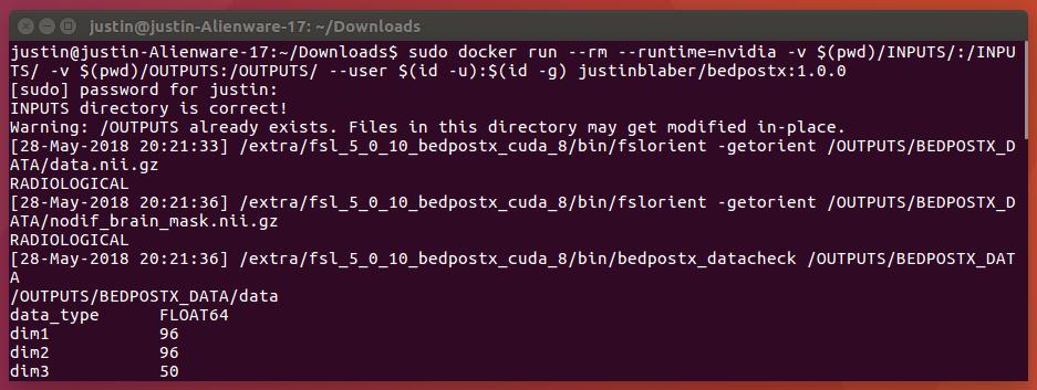 bedpostx with Docker and Singularity!